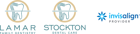 Lamar and Stockton Dentistry logos and Invisalign logo